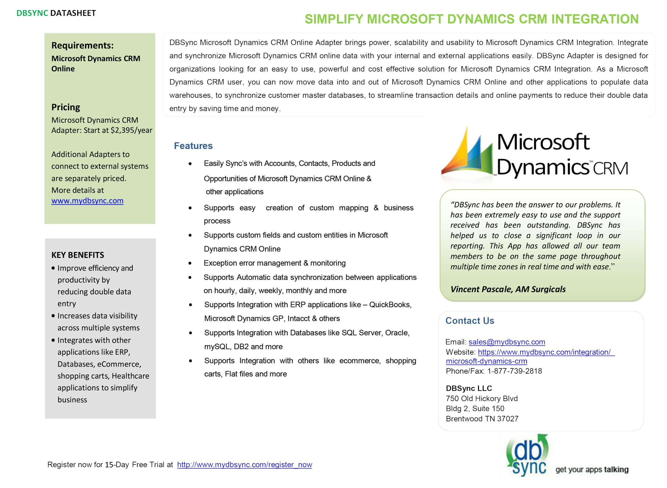 Integration for Dynamics 365/CRM and QuickBooks